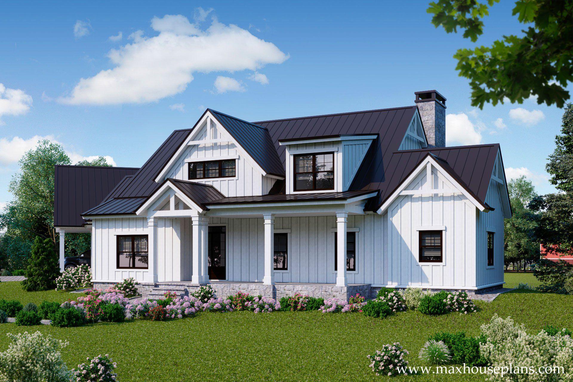 Modern Farmhouse House Plan in 2020 Modern farmhouse