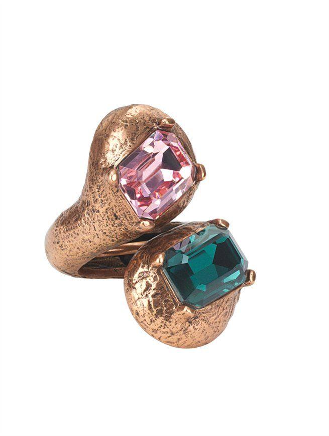 DOUBLE SWAROVSKI RING - Oscar de la Renta Jewelry