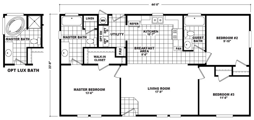 Engineered for privacy in the master suite, the layout of