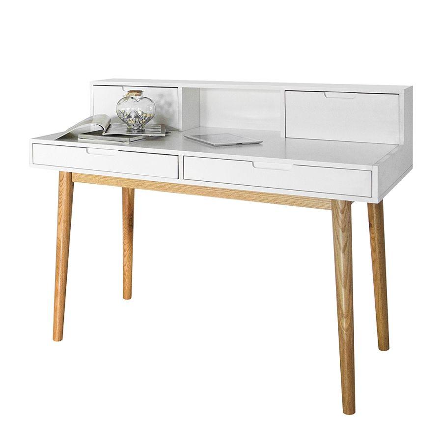 Secretaire Lindholm Wit Massief Eikenhout Schreibtisch