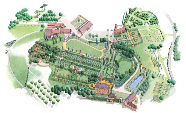 Plan des jardins du manoir d 39 eyrignac perigord dordogne for Plan 3d jardin