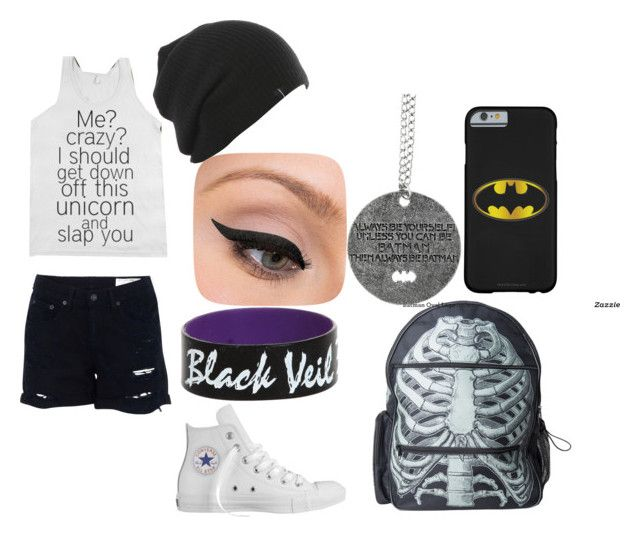 """bvb concert"" by forever-an-angel ❤ liked on Polyvore featuring rag & bone, Converse, Kreepsville 666 and LORAC"