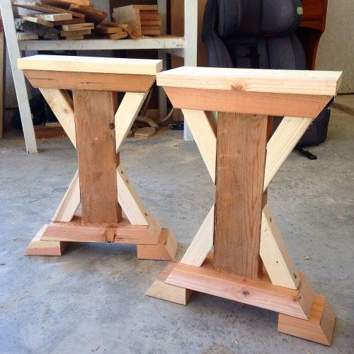 chunky x base table a how to woodworking shop diy. Black Bedroom Furniture Sets. Home Design Ideas