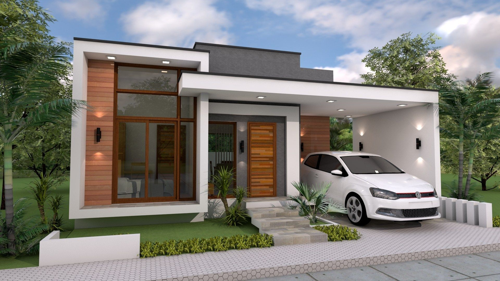 3 Bedrooms Home Design Plan 10x12m | Modern bungalow house ...