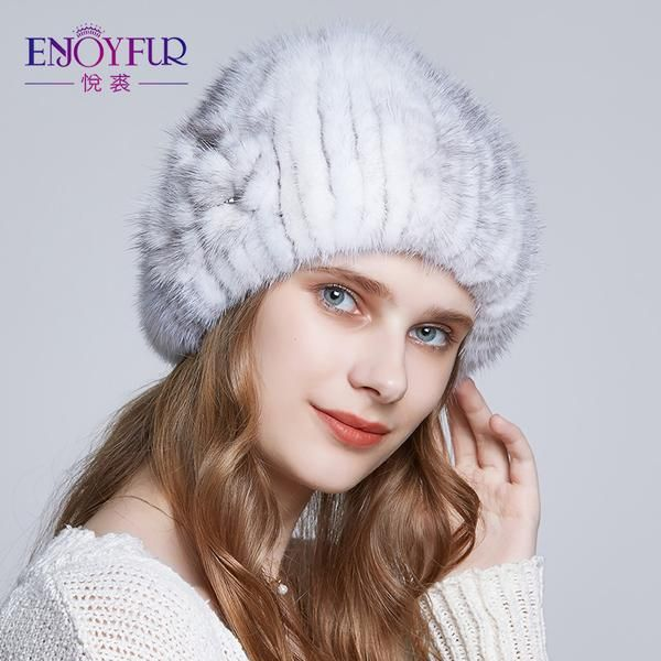 e74113751c148 ENJOYFUR winter fur hats for women Knitted mink fur hat thick warm lining  wool beanies hat
