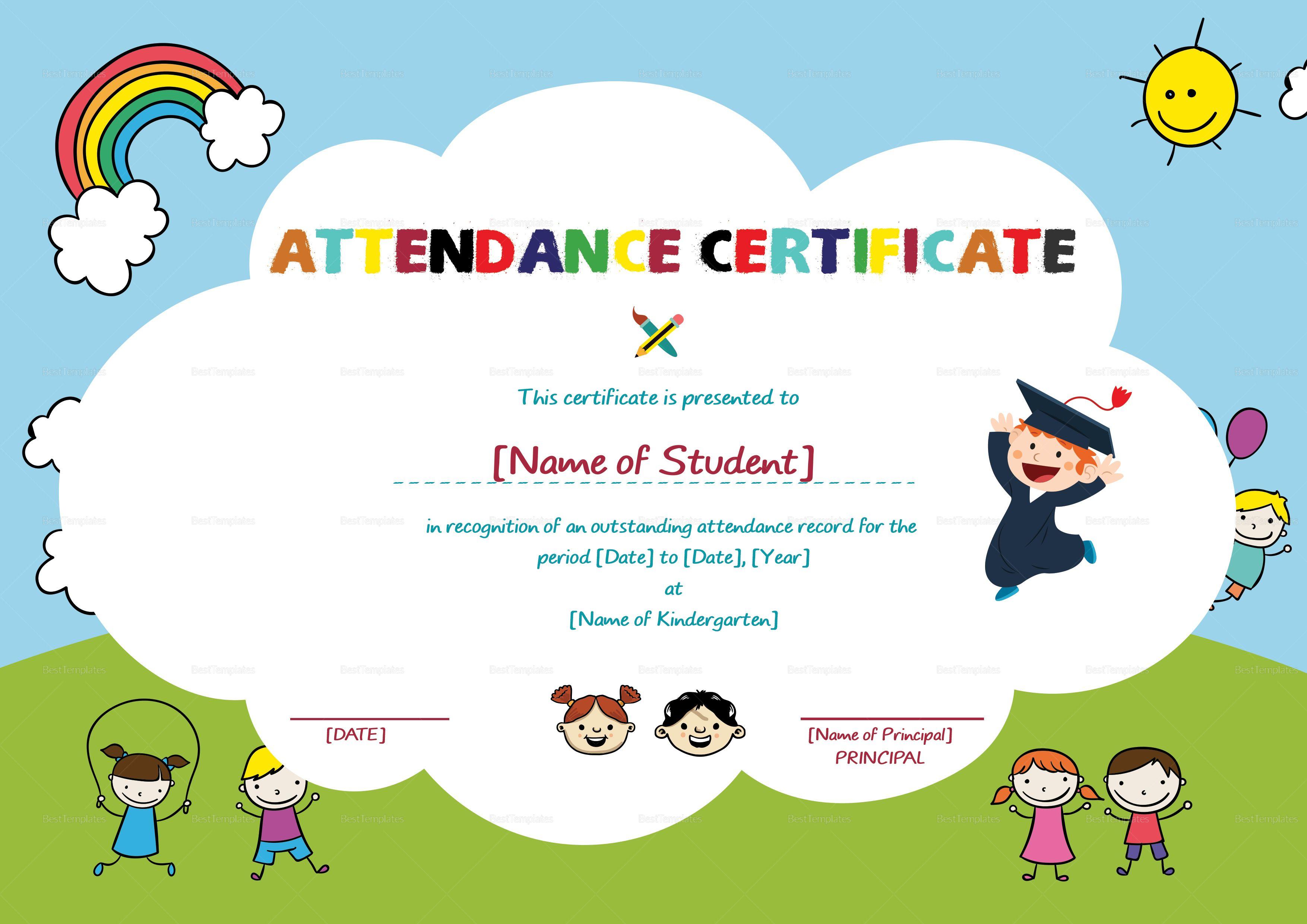 School Students Attendance Certificate Template