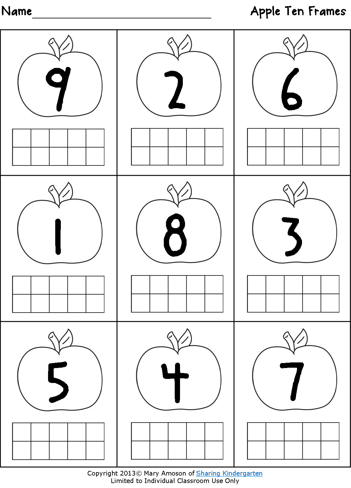 Freebie apple ten frame sheet- with paint and q-tips, would make a fun,  cute math station