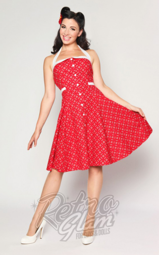 Retro Glam Heartbreaker Peggy Sue Dress In Ketchup