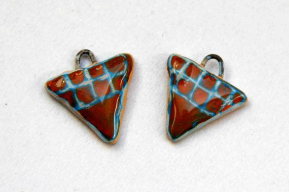 A pair of Blue and Dark Orange Triangle Earring by HappyFishThings, $6.00