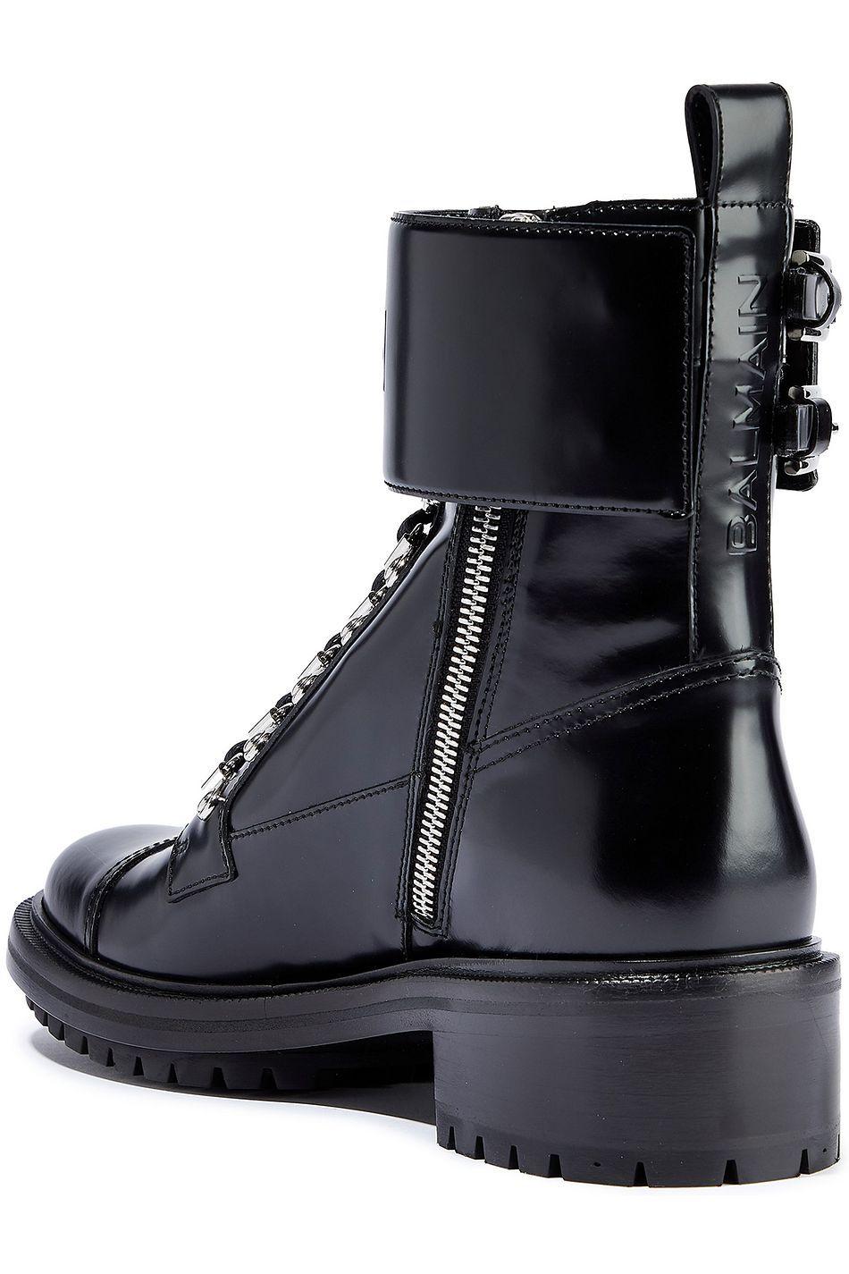 Black Embossed glossed-leather ankle