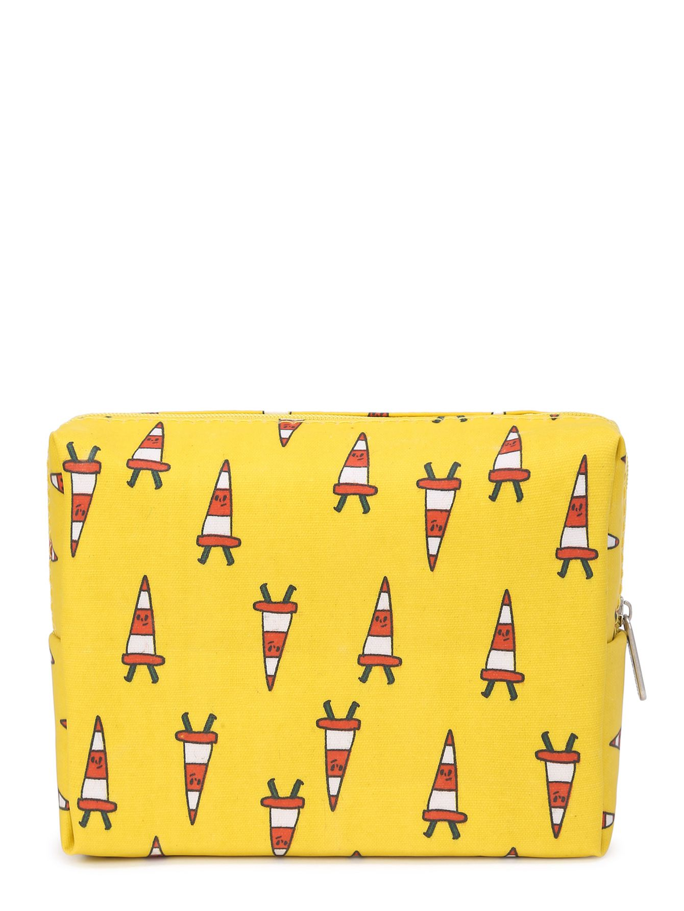 Graphic print zipper up cosmetic bag shops cats and print