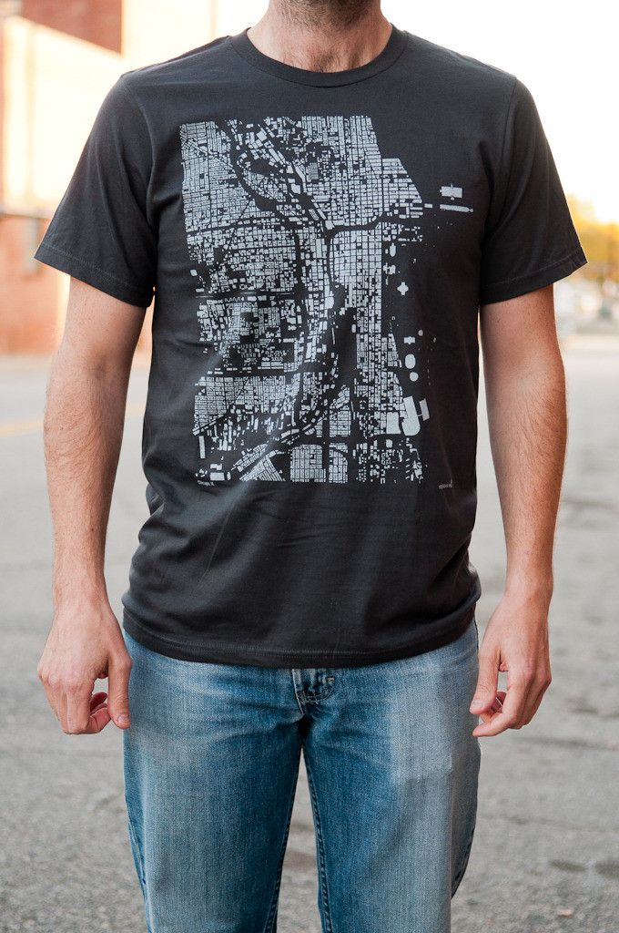 """CityFabric """"Wear You Live"""" Chicago Tee, $23  #map #Chicago #civicpride"""