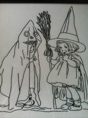 Vintage Style Halloween Embroidery Stitchery Witch Ghost Pattern | eBay