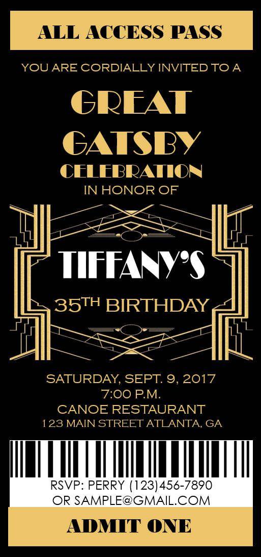 Great Gatsby Invitation- Prom Ticket- Party Invitation- Any Occasion ...