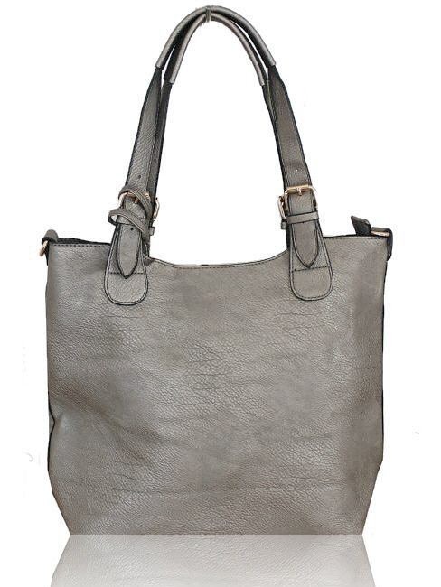 Kris Ana Metallic Tote Bag In Pewter Silver Pretty Witty