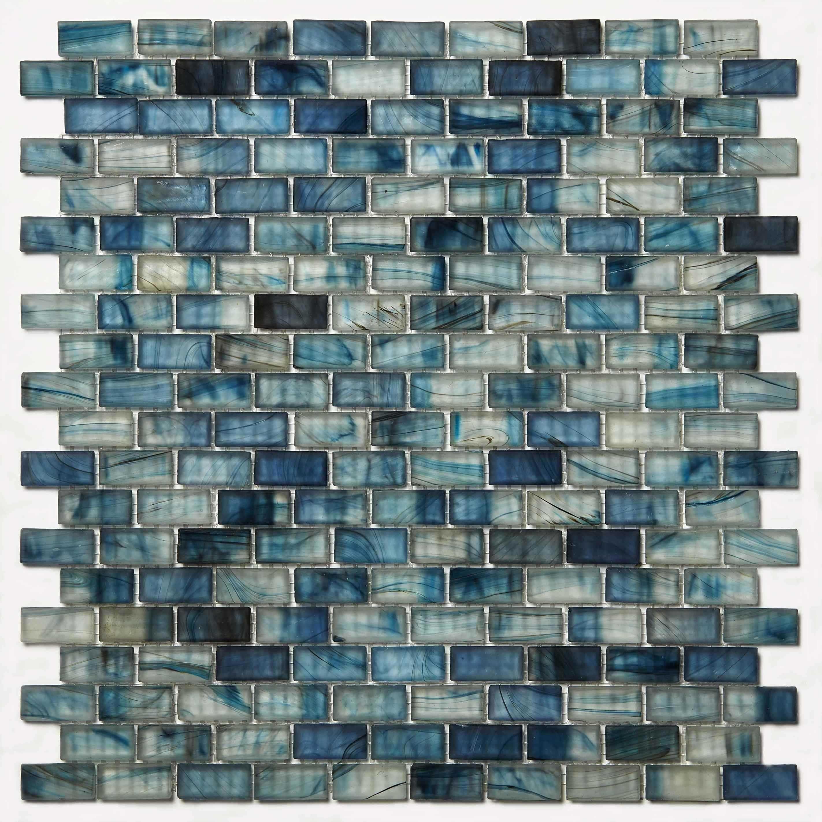 Blue Gray Mosaic Glass Sheet Waterfall Plain Sheets Mozaico