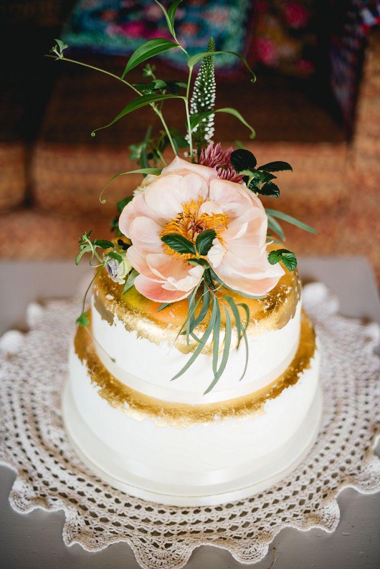 Gold Leaf Metallic Cake Flowers Topper Laid Back Bohemian Festival Wedding Http Benjaminmathers