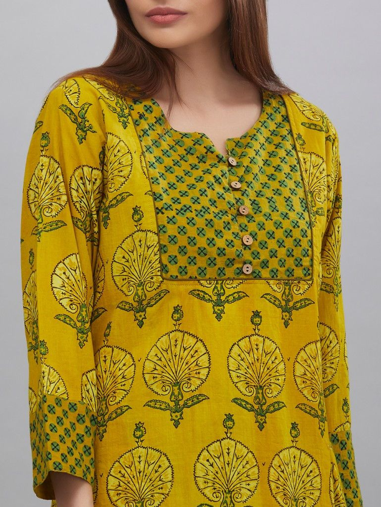 Yellow Hand Block Ajrak Printed Cotton Kurta Kurti Neck Designs Kurta Designs Women Cotton Kurti Designs