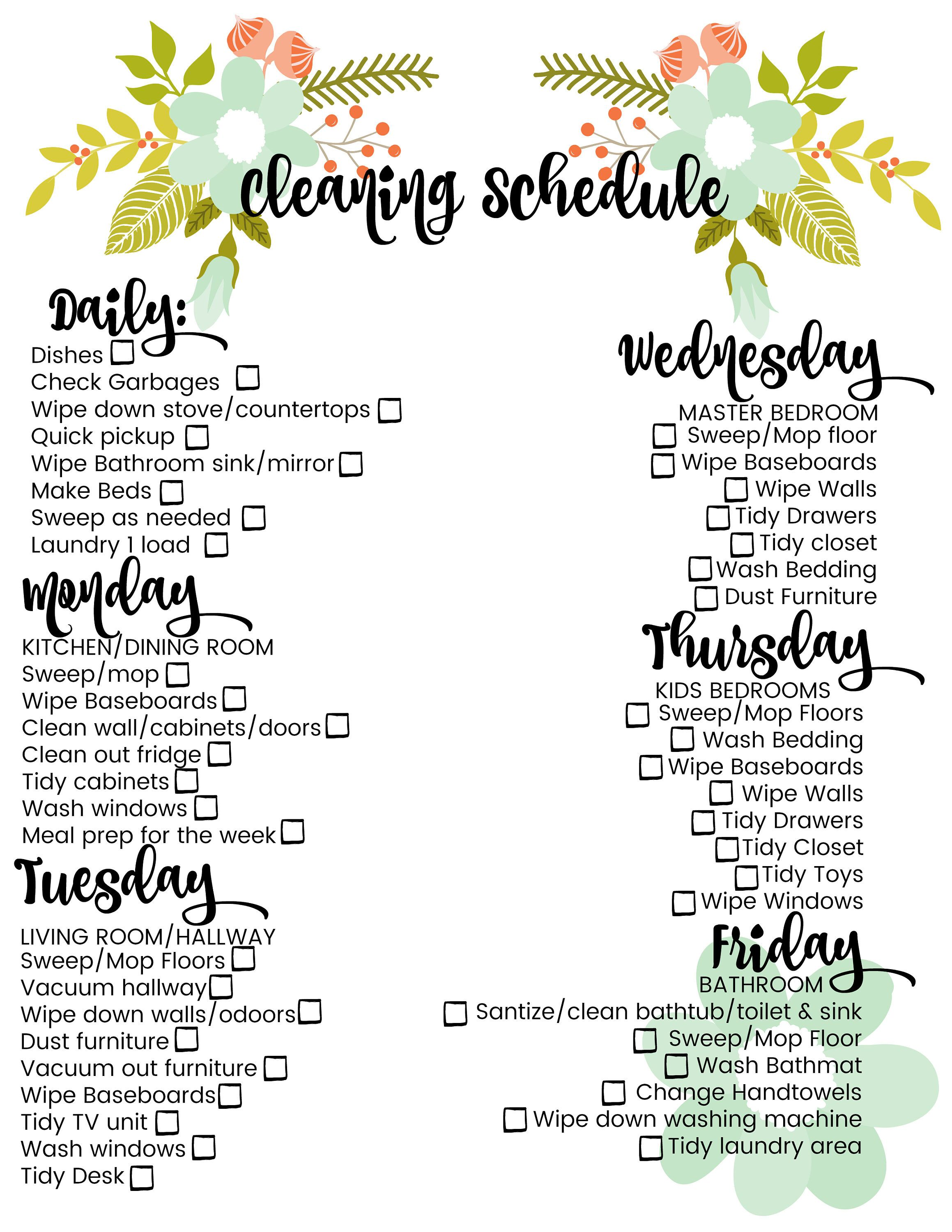 Cleaning Schedule Daily Weekly Large Family Printable