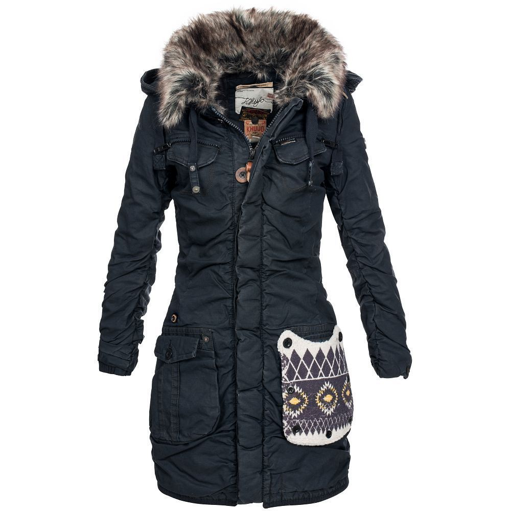 khujo damen winterparka chantal navy m damenparka parka jacke vorf hrmodell ebay german. Black Bedroom Furniture Sets. Home Design Ideas