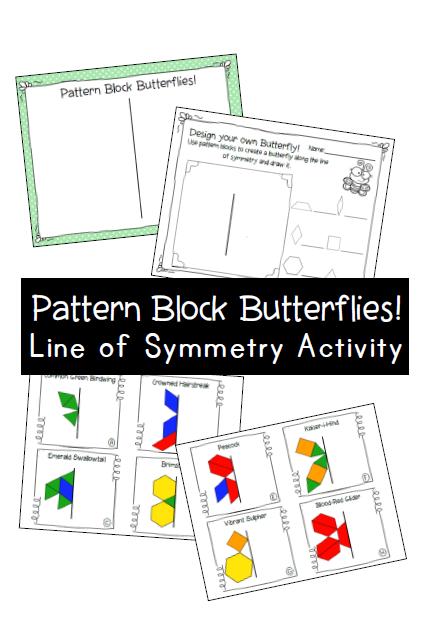 Pattern Block Butterflies Line Of Symmetry Center With Work Mats