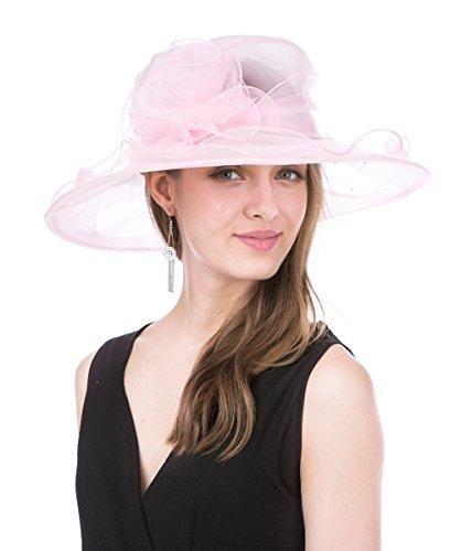 d5531372300bd SAFERIN Women s Organza Church Derby Fascinator Bridal Cap British Tea  Party Wedding Hat