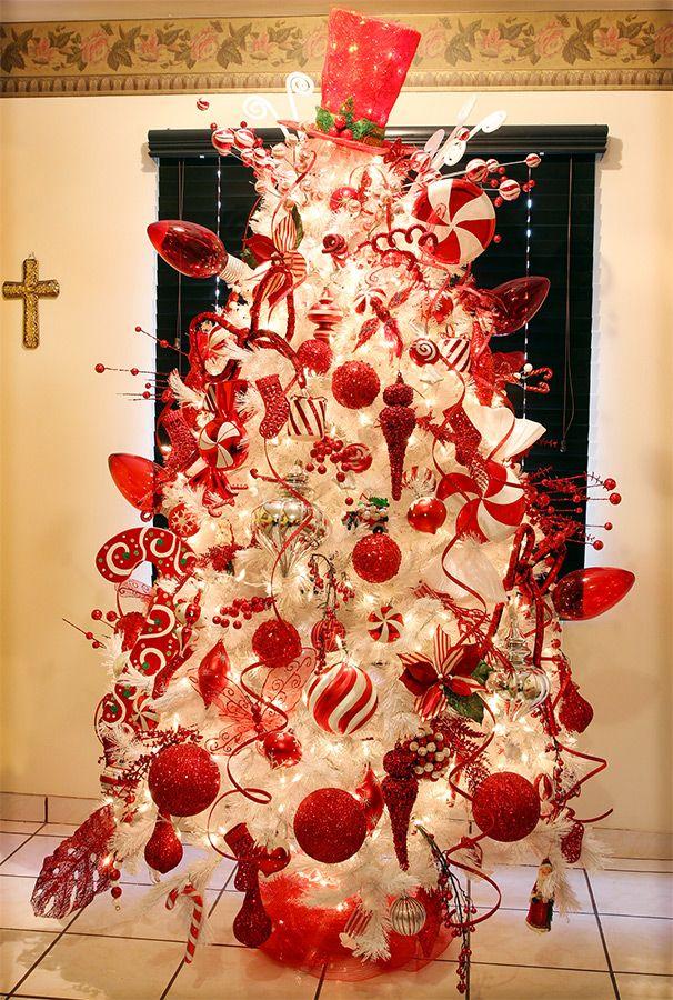 arbol de navidad rojo y blanco buscar con google