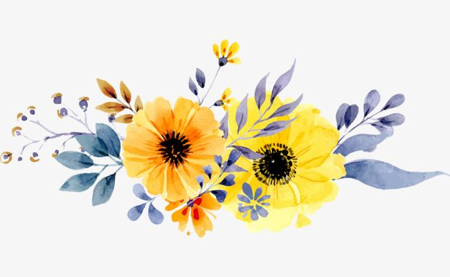 Vector Hand Painted Watercolor Flowers Yellow Flowers Spring Background Plant Hand Painted Vector Watercolor Flower Vector Blue Flower Painting Flower Painting