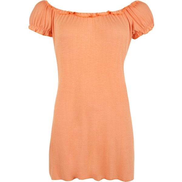 Leanne Ruffle Detail Gypsy Top ($16) ❤ liked on Polyvore featuring tops, peach, off the shoulder ruffle top, stretch top, ruffle top, rayon tops and off the shoulder tops