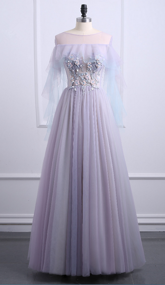 6e14b9fe0 According to the Vintage Bal long purple gauze edge 3d flower of space layer  formal evening dress is personalized party dress