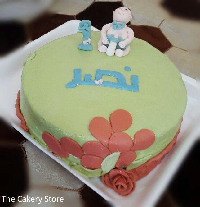 كيكة عيد ميلاد الاول بعجينة السكر Baby First Birthday Desserts Cake Food
