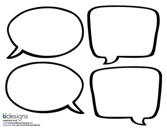 INSTANT DOWNLOAD Blank Superhero Speech Bubble by