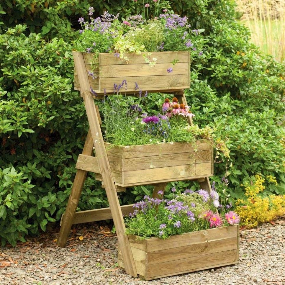Garden and Patio DIY Vertical Raised Container Planter Box For Small Ve able Garden Spaces In
