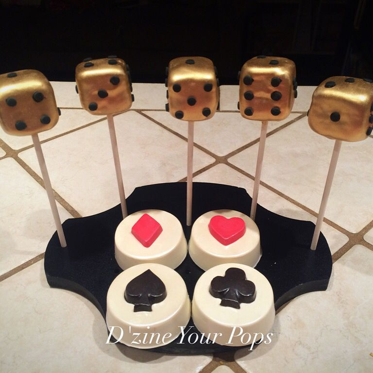 Casino Theme Cake Pops And Chocolate Covered Oreos. Gold