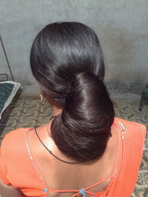 Indian Long Hair Bun Rambut Panjang Rambut