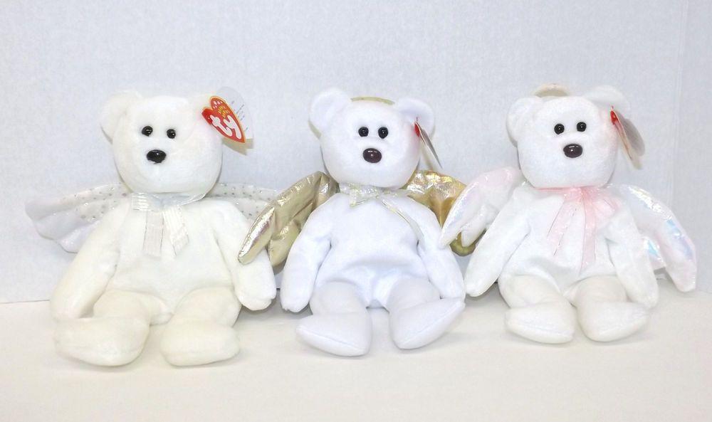 3 TY Beanie Baby Angel Bears - Halo  b6d5a0ba4fb