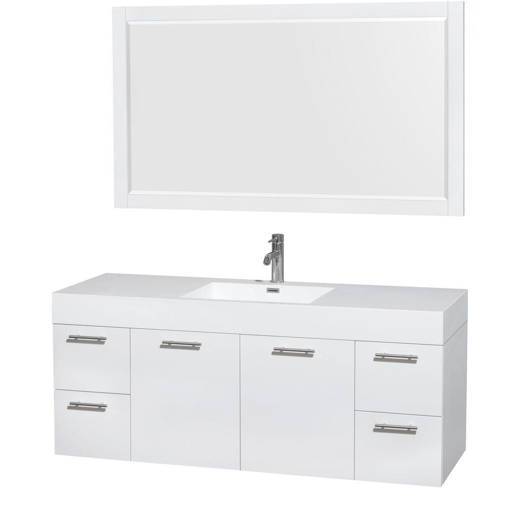 Wyndham Collection Amare 60 In Vanity In Glossy White With Acrylic Resin Vanity Top In White Integrated Sink And 58 In Mirror Wcr410060sgwarintm58 The Home Single Sink Bathroom Vanity Single Bathroom Vanity