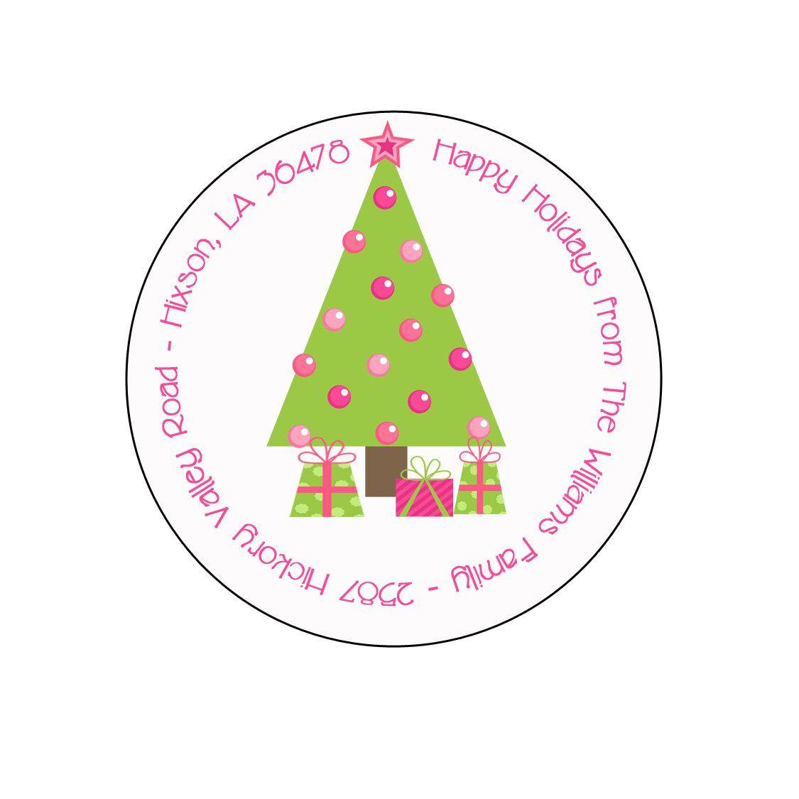 christmas address labels christmas address label christmas tree pink