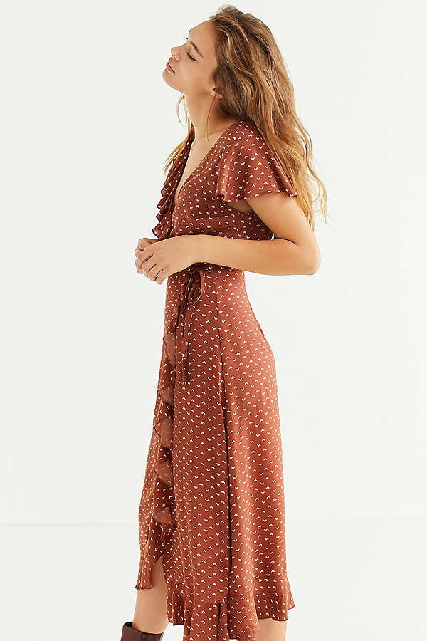 1cc0fe9b4 Kimchi Blue Ruffle Midi Wrap Dress   Wishlist   Dresses, Wrap dress ...