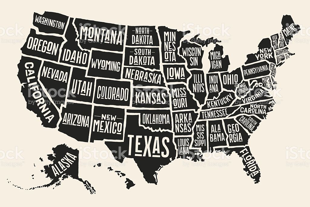 Map Of The United States Of America With Names.Poster Map Of United States Of America With State Names Black And