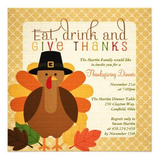 Cute Turkey Thanksgiving Dinner Invitation Zazzle