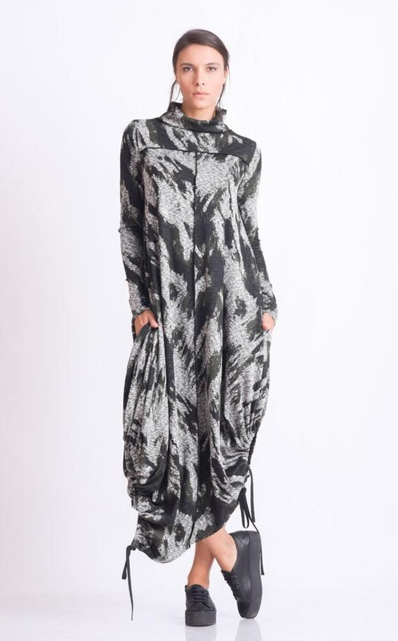Plus Size Maxi Dress/Oversize Long Tunic/Extravagant Pattern Dress/Long Sleeve Casual Dress/Long Maxi Dress/Comfortable Everyday Dress