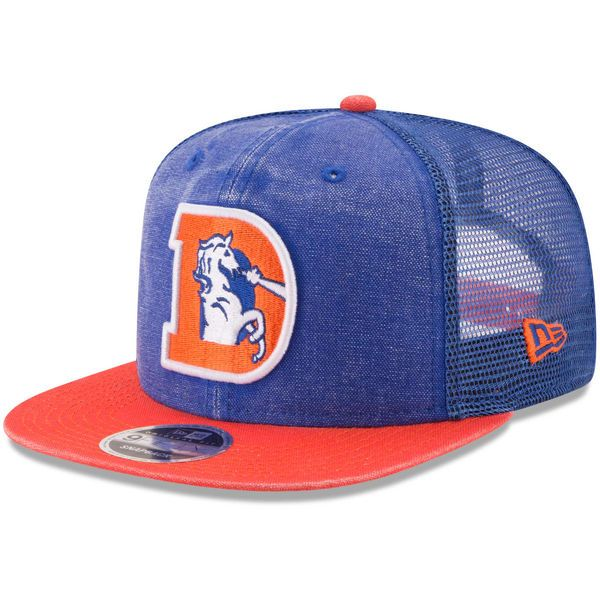 323bc6b653c New Era Denver Broncos Royal Orange Historic Logo Rugged Trucker Original  Fit 9FIFTY Snapback Adjustable Hat