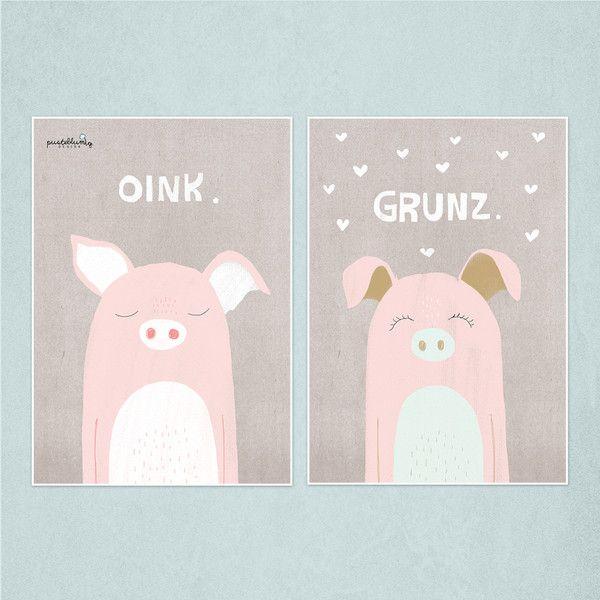"""Illustrationen - Print A4 2-er Set """"Schweine"""" - ein Designerstück von pusteblumig-design bei DaWanda"""