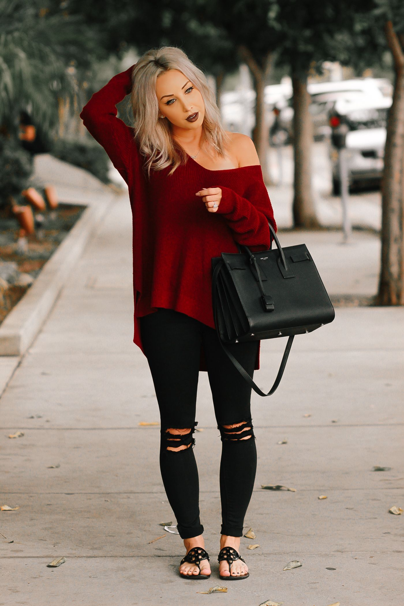 Blondie in the City | Burgundy Off The Shoulder Sweater | Black ...