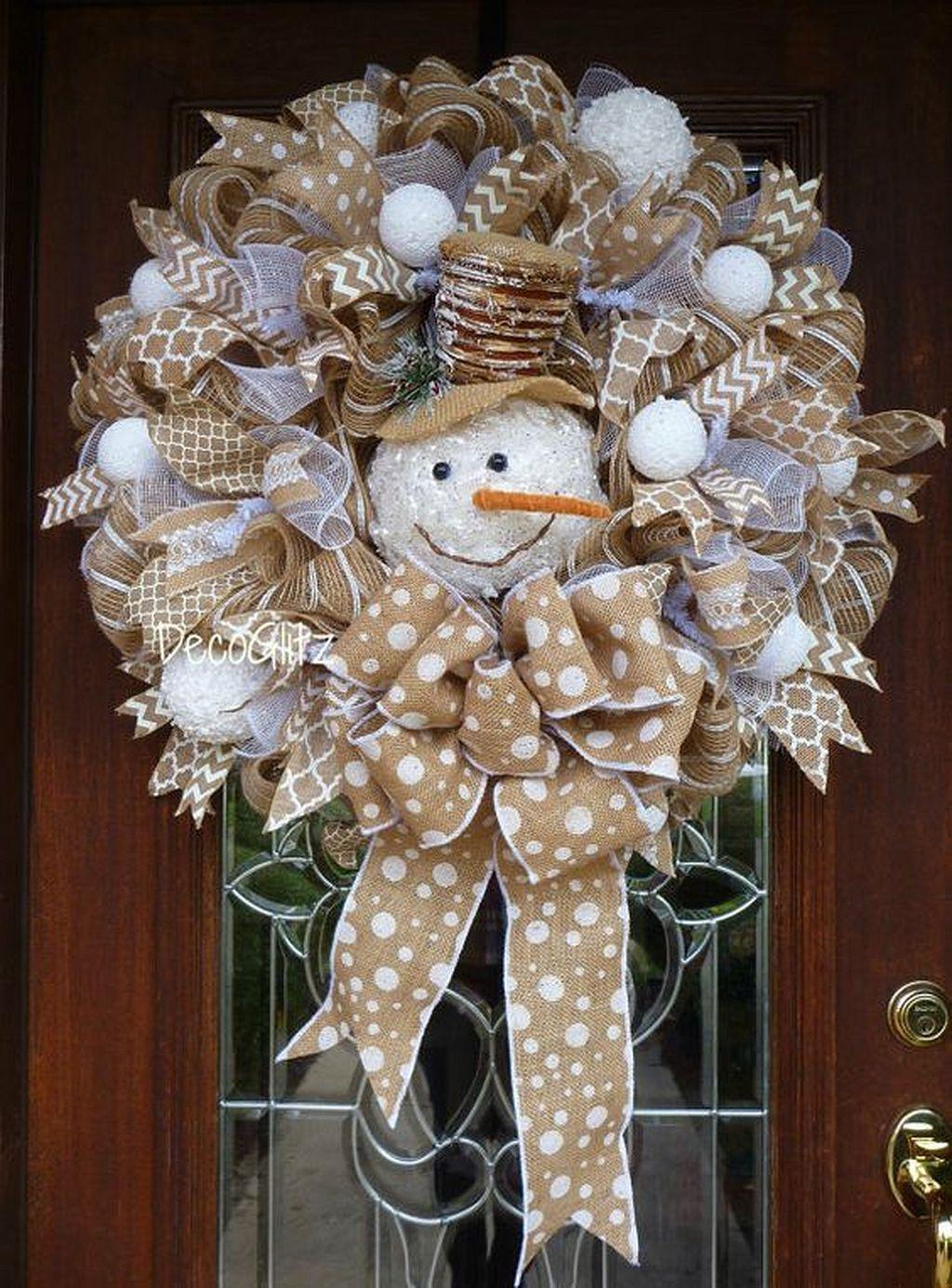 Snowman Christmas Wreath On Burlap рождественские венки