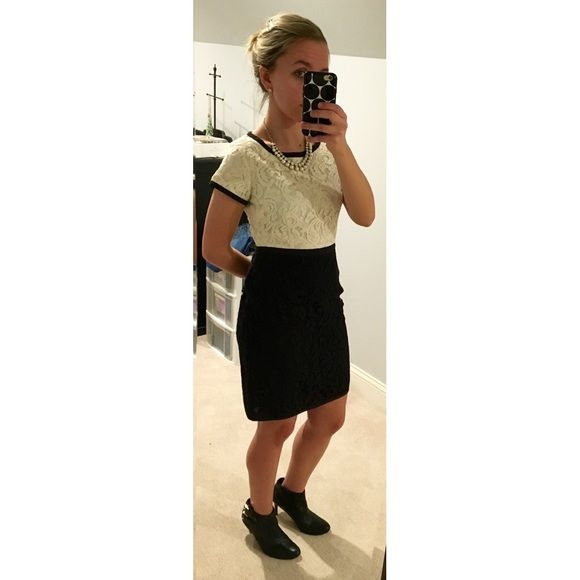 Ann Taylor Dress Only Worn Once Excellent Condition Black Off White Lace