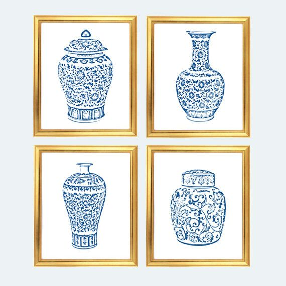 4da35991eaeb This beautiful set of 4 blue and white ginger jars were designed by me and  digitally enhanced from photographs. Great for a chic look on the cheap!