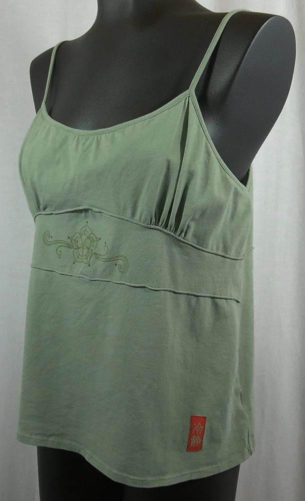 Calispia XL Olive Green Cotton Sphagetti Strap Camisole Baby Doll Tank Top #Calispia #TankCami #Casual