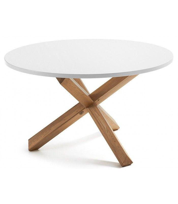 Mesa de diseño moderno redonda con pies de roble macizo en acabado ...